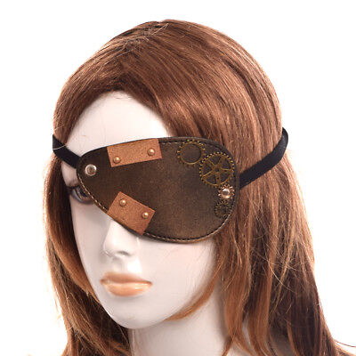 Victorian Steampunk Gear Rust Faux Plate Eye Patch Party Pirate Cosplay Patch
