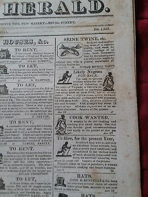 FOUR Front Page Illustrated Slave Ads - 1823 Alexandria, Virginia Newspaper