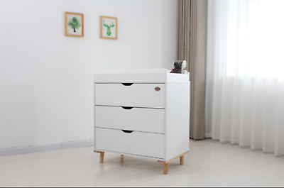 Brand New Three Drawers Dresser With Baby Change Table Topper & White Mat