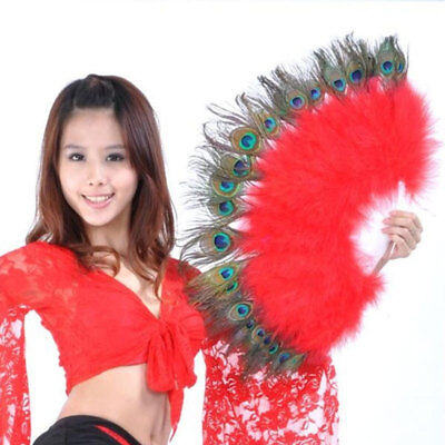 Chinese Folding Feather Hand Fan Peacock Eye Fan Wedding Dance Party Decor Hot