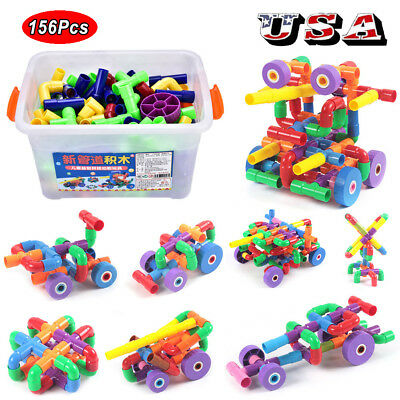 156Pcs Plastic Building Blocks Education Toys for Kids Baby Gift with Container