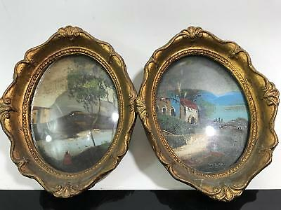 Pair Signed Impressionist Oval Country Landscape Miniature Paintings Framed