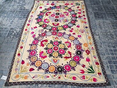 Genuine Antique Hand needle work  Uzbek Suzani rug Throw Size 7'4x4'8feet(413)
