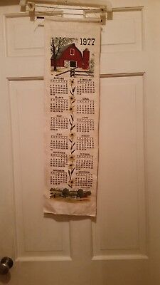 Vintage Linen 1977 Calender Red Barn, Birth Year Collectable Calender