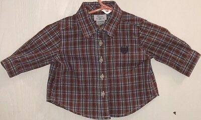 Chaps Baby Boy NB Shirt Button Down Blue/Red/White Plaid Long Sleeve Navy Logo