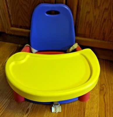 Portable Folding Tray Child Booster Seat Blue Baby Toddler Eat Play High Chair