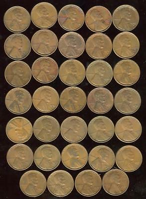 1933-D Lincoln Wheat Cent Partial Roll 34 Coins   VG-VF   Copper   CP1567
