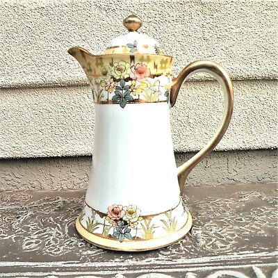 Exquisite 1920 Nippon Chocolate/Coffee Pitcher/Pot Fine Hand Painted Box #40
