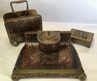 Art Nouveau Erhard & Shone Brass Inlaid Desk Set Inkwell stamp Box Letter Rack