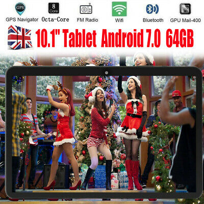 """10.1"""" HD Tablet PC 64GB Android 7.0 Google GPS Octa-Core WIFI Dual Camera UK NEW"""