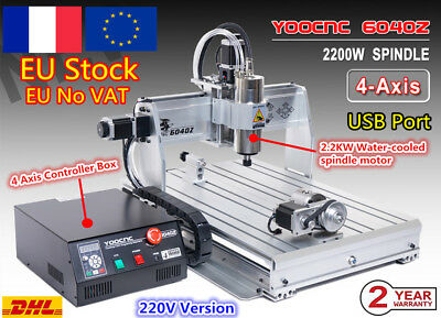 【FR Free】 USB 4 Axis 2.2KW VFD 6040 CNC Router Milling Engraving Cutting Machine