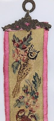 Rare Antique Victorian BIRDS Needlework Petit Point Tapestry BELL PULL Numbered