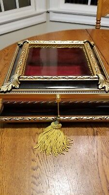 "Hand Carved Wood Shadow Box/ Display Royal French Style 12"" x 12"" Velvet lined"