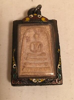 Old Antique / Vintage Thai Buddha Amulet Magic Powder Phra Pendant