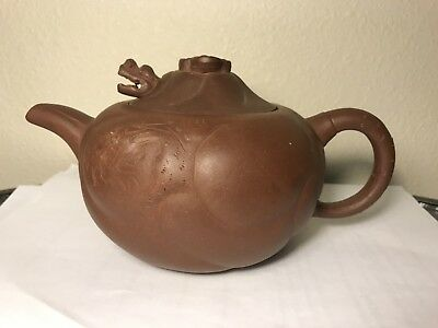 chinese purple clay teapot with mark