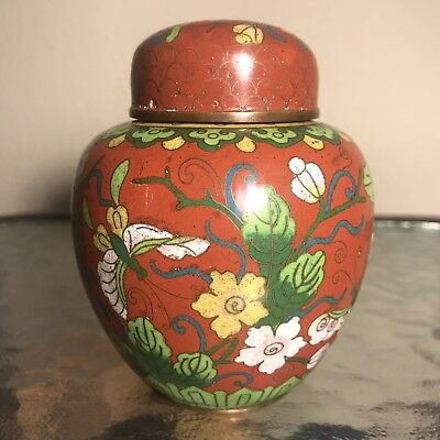 Chinese Antique Cloisonne Ginger Jar With Mark And Lid: 4 Inches