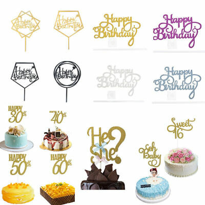 Lots Happy Birthday Cake Topper Card Acrylic Diy Decoration Home Supplies