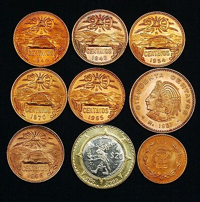 Mexico 1939-2000:  Eight Red Coppers and One 20 Peso BiMetallic - All High Grade