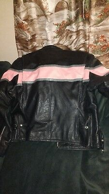 Hot Leathers Women's Black and Pink Leather Motorcycle Jacket 2xl xxl