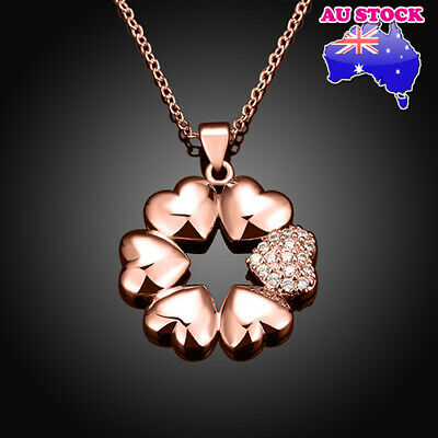 18K Red Gold Filled GF Paved Clear CZ Crystal Love Heart Flower Pendant Necklace