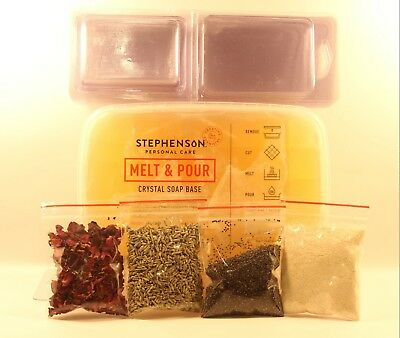 1KG Organic Soap Making Kit, soap mould, rose petal, lavender buds