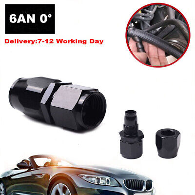 6AN 0 Degree Black Straight Swivel Fuel Oil Hose End Fittings Connector Fits BMW