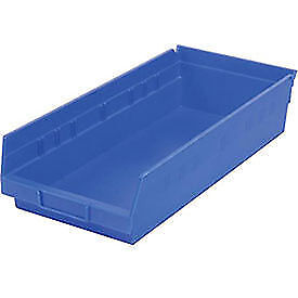 "Akro-Mils Plastic Shelf Bin, 8-3/8""W x 23-5/8""D x 4""H Blue, Lot of 6"