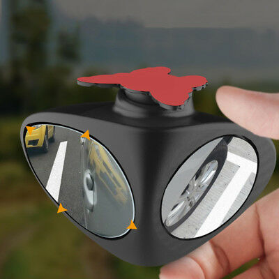 2in1 Car Blind Spot Mirror Wide Angle 360 Rotation Adjustable Convex Black Left