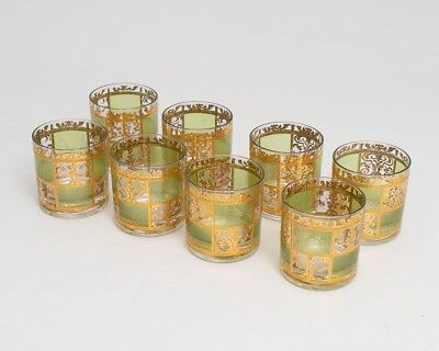 Set of 8 Vintage Culver 'Prado' Green Tumbler Glasses 22k Gold Mid Century 3.5""