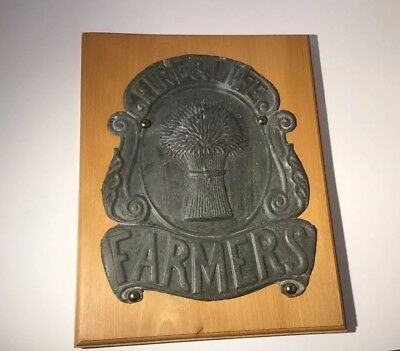 Original Fire & Life Farmers Office Fire Mark, Insurance Plaque C1860 Mounted
