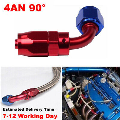 4AN 90 Degree Red&Blue Straight Swivel Fuel Oil Hose End Fittings Connector New