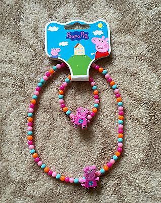 Peppa Pig Necklace and Bracelet Set with Colorful Beads - Brand New With Tag