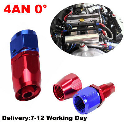 Universal 4AN -4AN Straight Swivel Oil Fuel Adapter Red/Blue Hose End Fitting