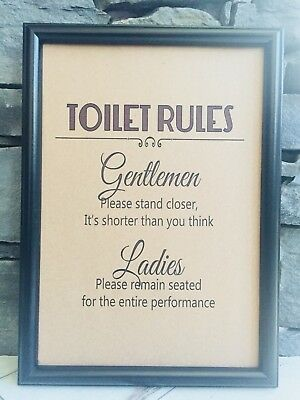 Framed Recycled Page Bathroom Toilet Wall Art Print Picture - Toilet Rules Sign