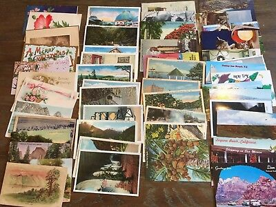 LOT of 30 RANDOM VINTAGE US POSTCARDS Early 1900s - 1970s Antique Mixed Views
