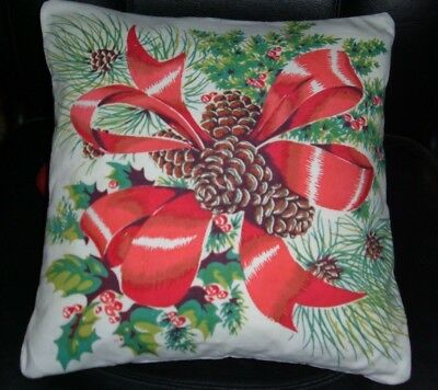 Vintage Wilendur Christmas Pillow Sham  Red Bows Berries