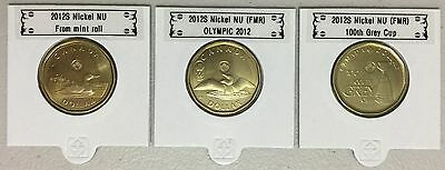 CANADA 2012 New Complete set 3 x Loonie (BU directly from mint roll)