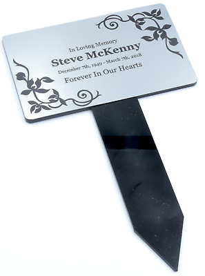 Personalised Silver Memorial Plaque Stake Grave Ornament - Decorative Borders