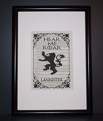 Book Page Art Print - Game Of Thrones House Lannister Sigil Crest - Picture Gift
