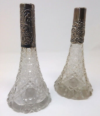 Pair of Silver Necked Tall Scent Bottles 1920s 1930s