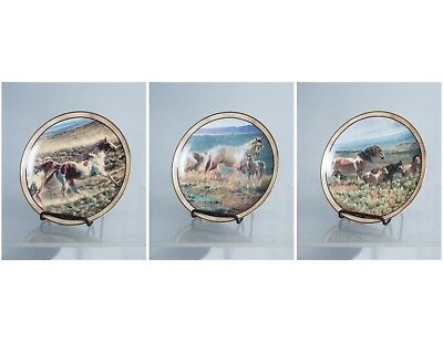 Set of 3 Danbury Mint Horse Collector Plates by Nancy Glazier Wild and Free