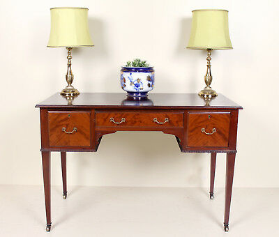 Antique Victorian Desk Writing Table Mahogany Kneehole Console
