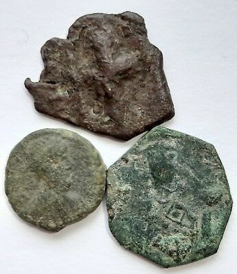Byzantine coins bronze. Lot of 3 coins.
