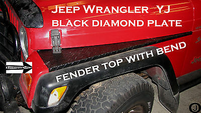 "Jeep Wrangler YJ Aluminum Diamond Plate 40"" Fender Top With Bend Rubber Coated"