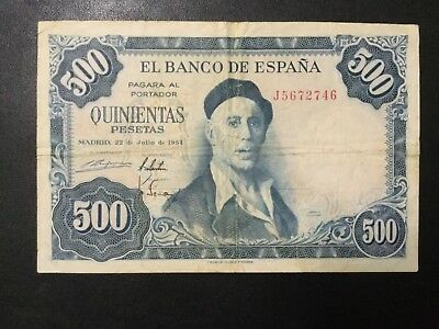 1954 Spain Paper Money - 500 Pesetas Banknote!