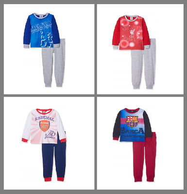 BOYS PYJAMAS KIDS Junior PAJAMA COTTON 2PCS SET Sleep Nightwear FC FOOTBALL  Logo 847e1acaa