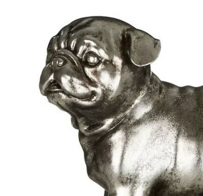 Antique Silver Pug Dog Bookends Home Interior Ornament Heavy Pair