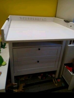 Ikea Sandvik Changing Table With Drawers White Used