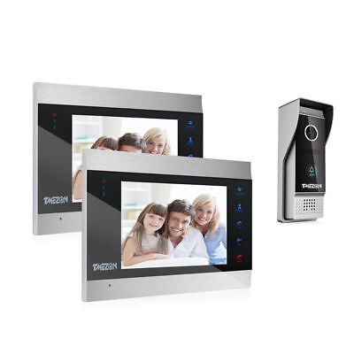 "TMEZON Wired 7"" Color TFT Video Door phone Intercom System 2 Monitor 1x Doorbell"