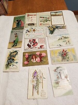 Lot of 14 Used Vintage Postcards! Earliest year 1911 showing 1cent stamps